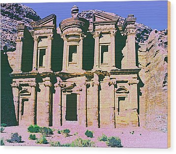 Monastery At Petra Wood Print by Dominic Piperata