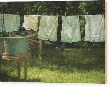 Monday Was Wash Day Wood Print