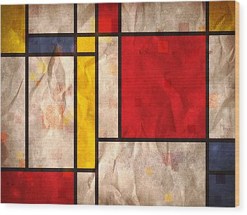 Mondrian Inspired Wood Print by Michael Tompsett