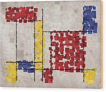 Mondrian Inspired Squares Wood Print by Michael Tompsett