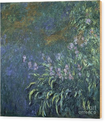 Monet: Irises By The Pond Wood Print by Granger