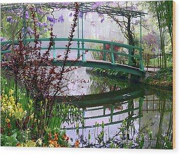 Monet's Bridge Wood Print by Jim Hill