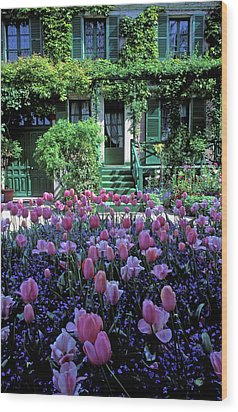 Monet's House With Tulips Wood Print by Kathy Yates