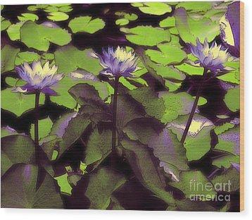 Monets Lillies Wood Print by Karen Lewis