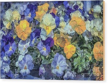 Monet's Pansies Wood Print