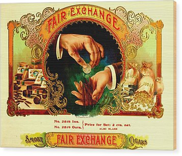 Money Cigar Label Wood Print by Marianne Dow