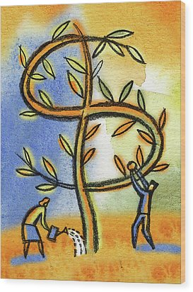 Wood Print featuring the painting Money Tree by Leon Zernitsky