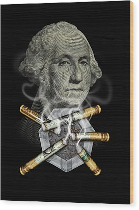 Money Up In Smoke Wood Print by James Larkin