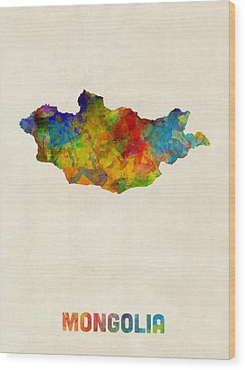 Wood Print featuring the digital art Mongolia Watercolor Map by Michael Tompsett
