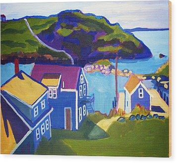Monhegan Harbor Wood Print by Debra Bretton Robinson