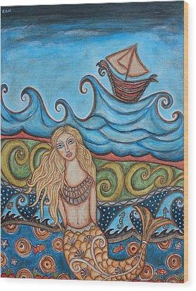 Monique Mermaid Wood Print by Rain Ririn
