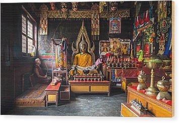Kathmandu Monk Wood Print