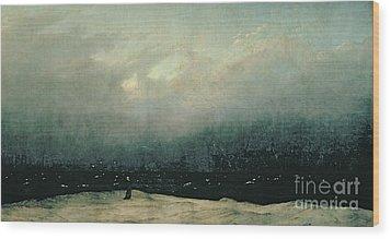 Monk By Sea Wood Print by Caspar David Friedrich