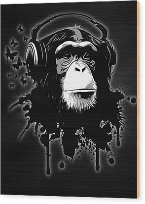 Monkey Business - Black Wood Print by Nicklas Gustafsson