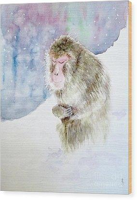 Monkey In Meditation Wood Print by Yoshiko Mishina