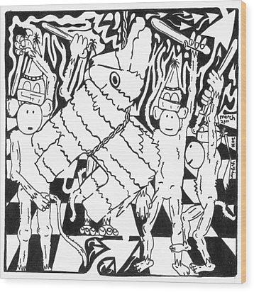 Monkey Pinata Party Wood Print by Yonatan Frimer Maze Artist