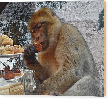 Monkey Tea Party Wood Print by Jan Steadman-Jackson