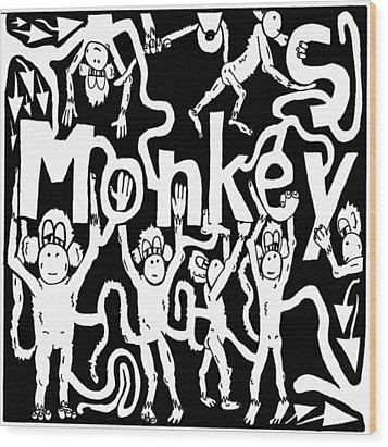 Monkeys Maze For M Wood Print by Yonatan Frimer Maze Artist