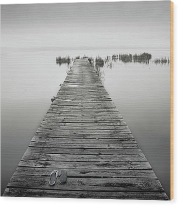 Mono Jetty With Sandals Wood Print by Billy Currie Photography