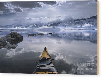 Mono Lake Winter Kayak Wood Print by Buck Forester