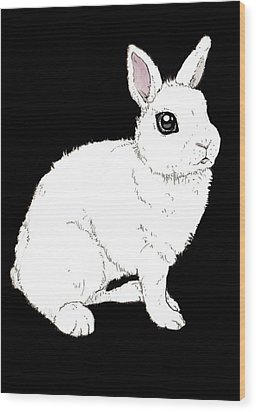 Monochrome Rabbit Wood Print by Katrina Davis