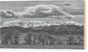 Wood Print featuring the photograph Monochrome Rocky Mountain Front Range Panorama Range Panorama by James BO Insogna