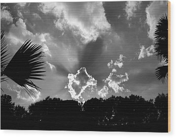 Monochrome Sunburst Wood Print