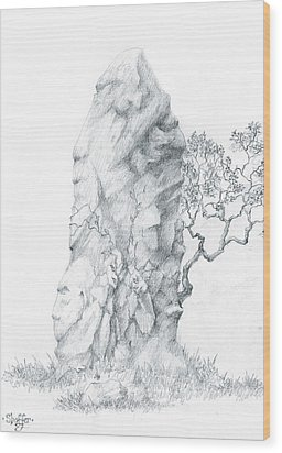 Wood Print featuring the drawing Monolith 2 by Curtiss Shaffer