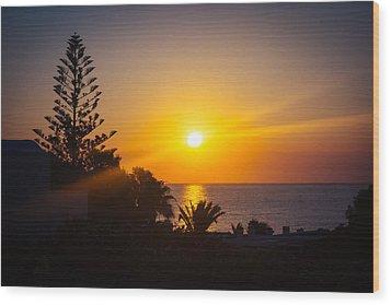 Monolithos Sunrise Wood Print by Matti Ollikainen