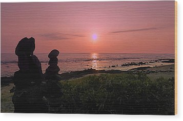 Wood Print featuring the photograph Monoliths At Sunset by Lori Seaman