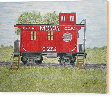 Monon Wood Caboose Train C 283 1950s Wood Print
