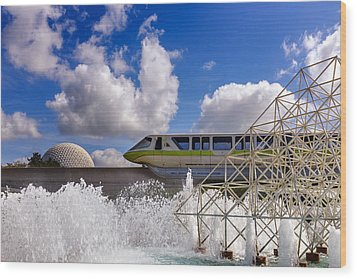 Monorail And Spaceship Earth Wood Print