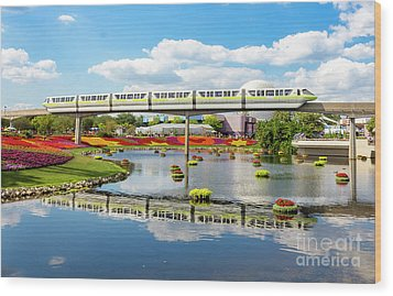 Monorail Cruise Over The Flower Garden. Wood Print