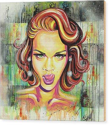Monroe Gone Bad Wood Print by Aramis Hamer