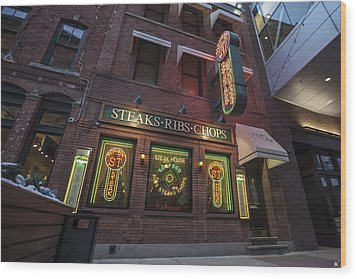 Wood Print featuring the photograph Monroe St Steakhouse by Nicholas Grunas