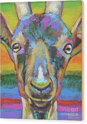 Monsieur Goat Wood Print