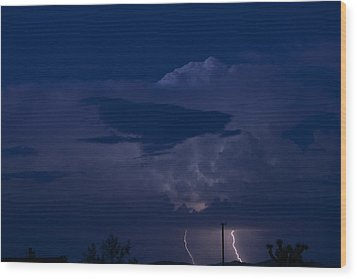 Monsoon Cloud And Lightening 20 Wood Print by Carolina Liechtenstein