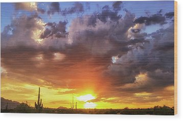 Wood Print featuring the photograph Monsoon Sunset by Anthony Citro
