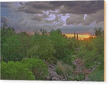 Wood Print featuring the photograph Monsoon Sunset H56 by Mark Myhaver