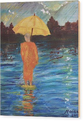 Monsoon Walk Wood Print by Neena Alapatt
