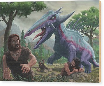 Wood Print featuring the painting Monster Attacking Cavemen by Martin Davey