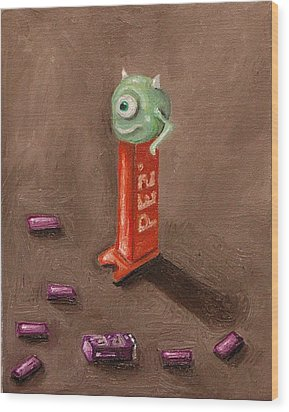 Monster Pez Wood Print by Leah Saulnier The Painting Maniac