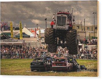 Monster Truck Destruction  Wood Print by Rob Hawkins