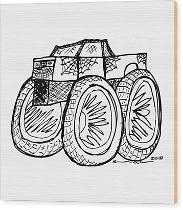 Monster Truck Wood Print by Karl Addison