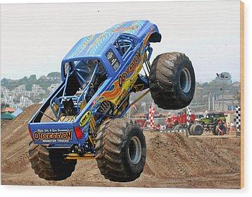 Monster Trucks - Big Things Go Boom Wood Print by Christine Till