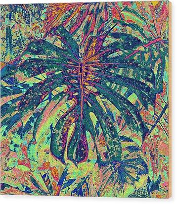 Wood Print featuring the digital art Monstera Leaf Patterns - Square by Kerri Ligatich