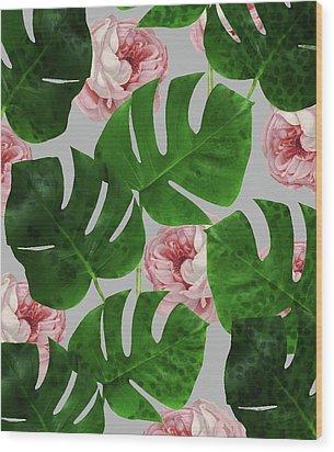 Monstera Rose Pattern Wood Print by Uma Gokhale