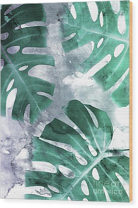 Monstera Theme 1 Wood Print by Emanuela Carratoni