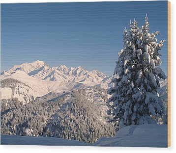 Mont Blanc From Les Saisies Wood Print by Michael Canning