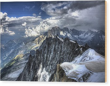 Wood Print featuring the photograph Mont Blanc Near Chamonix In French Alps by Shawn Everhart